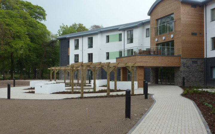 £11m Extra Care Development Abergele | Monapvae Textured Paviours and Conwy 450 concrete Slabs.